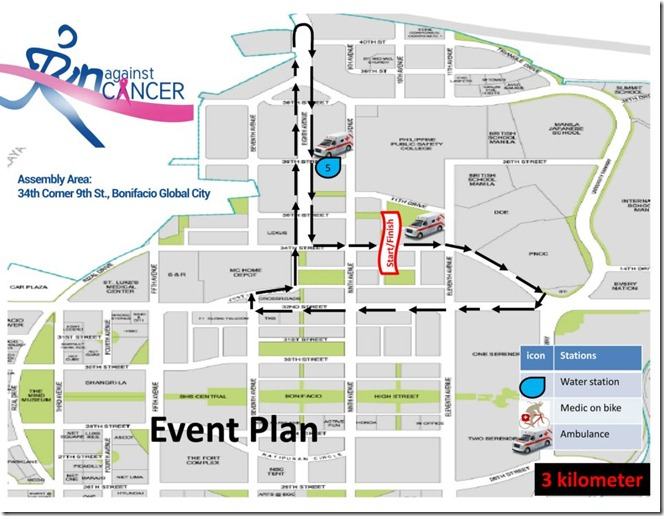 Race Against Cancer 3km route