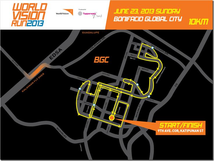World Vision Run 10k route