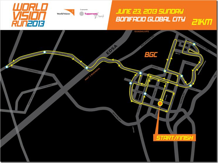 World Vision Run 21k route