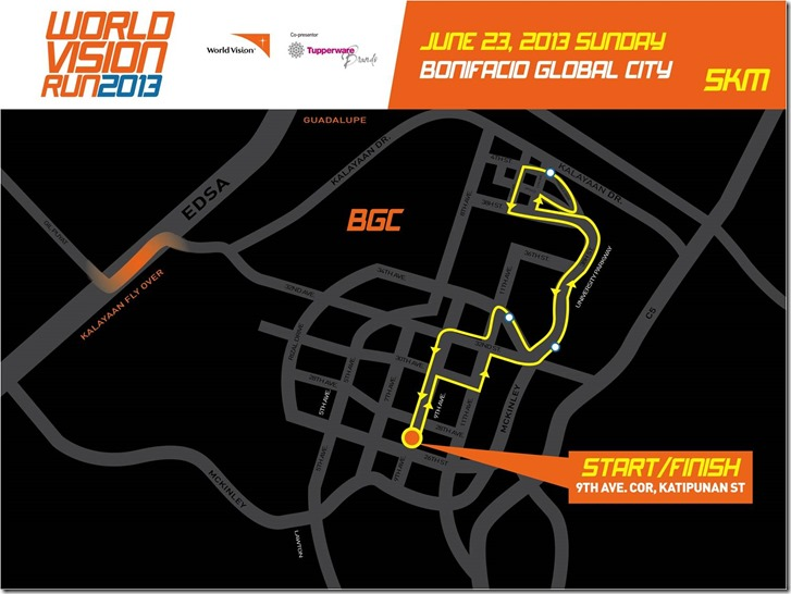 World Vision Run 5km route
