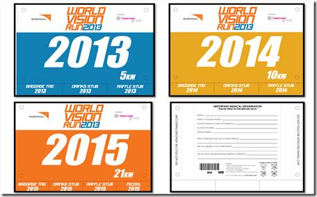 World Vision Run race bibs