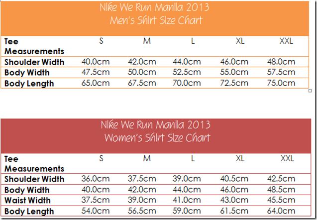 Nike We Run Manila 2013 shirt size chart