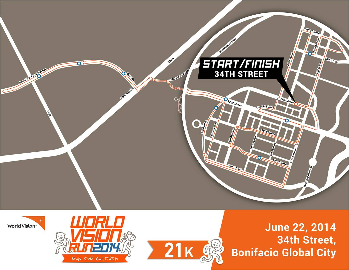World-Vision-Run-Race-Route-21k
