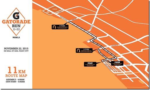 Gatorade 11km Race Route